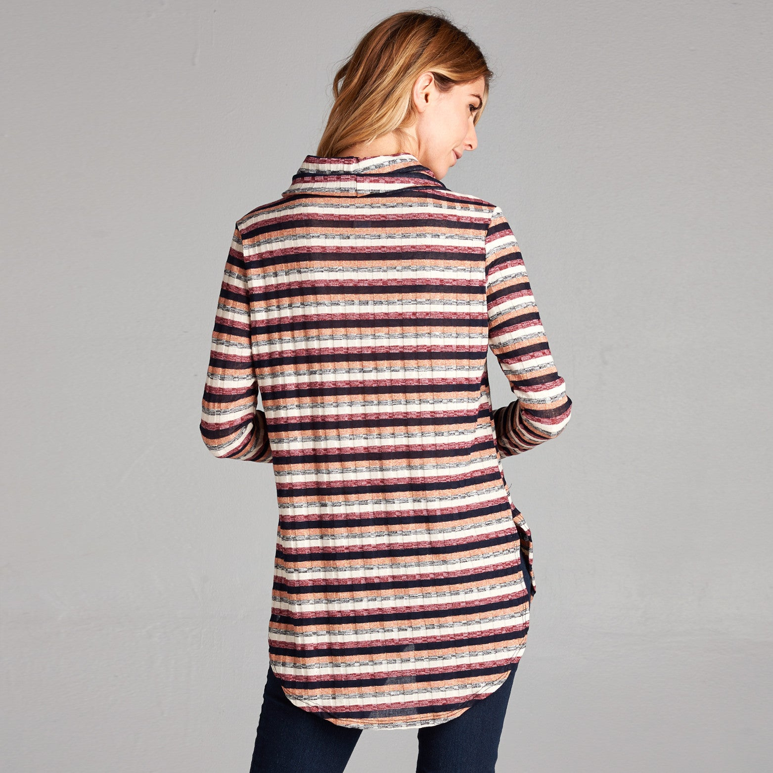 Cowl Neck Lurex Stripe Tunic