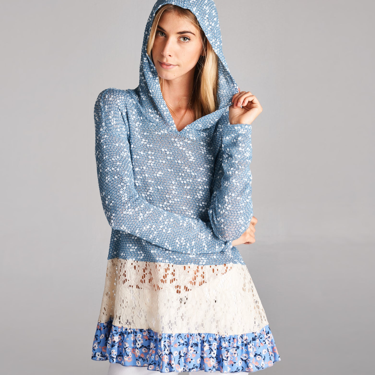 Floral Lace Hooded Light Sweater