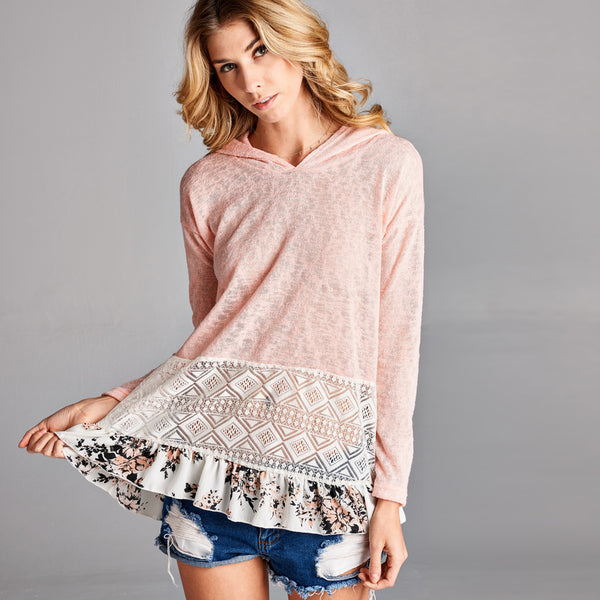 Floral Lace Hooded Light Sweater - Love, Kuza