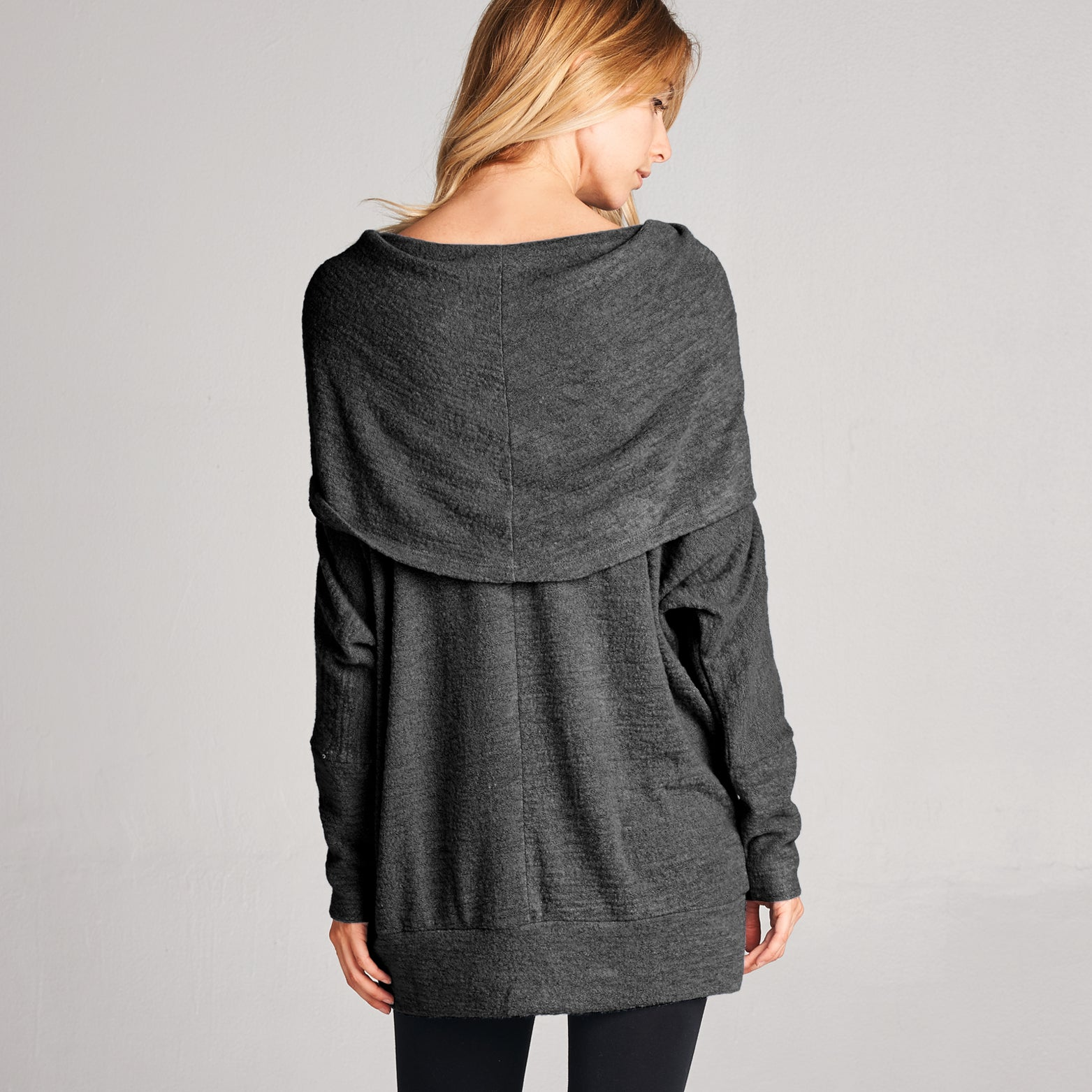 Oversized Cowl Neck Hacci Sweater
