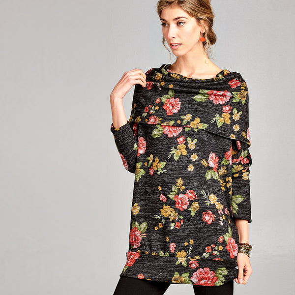 Oversized Cowl Neck Floral Sweater