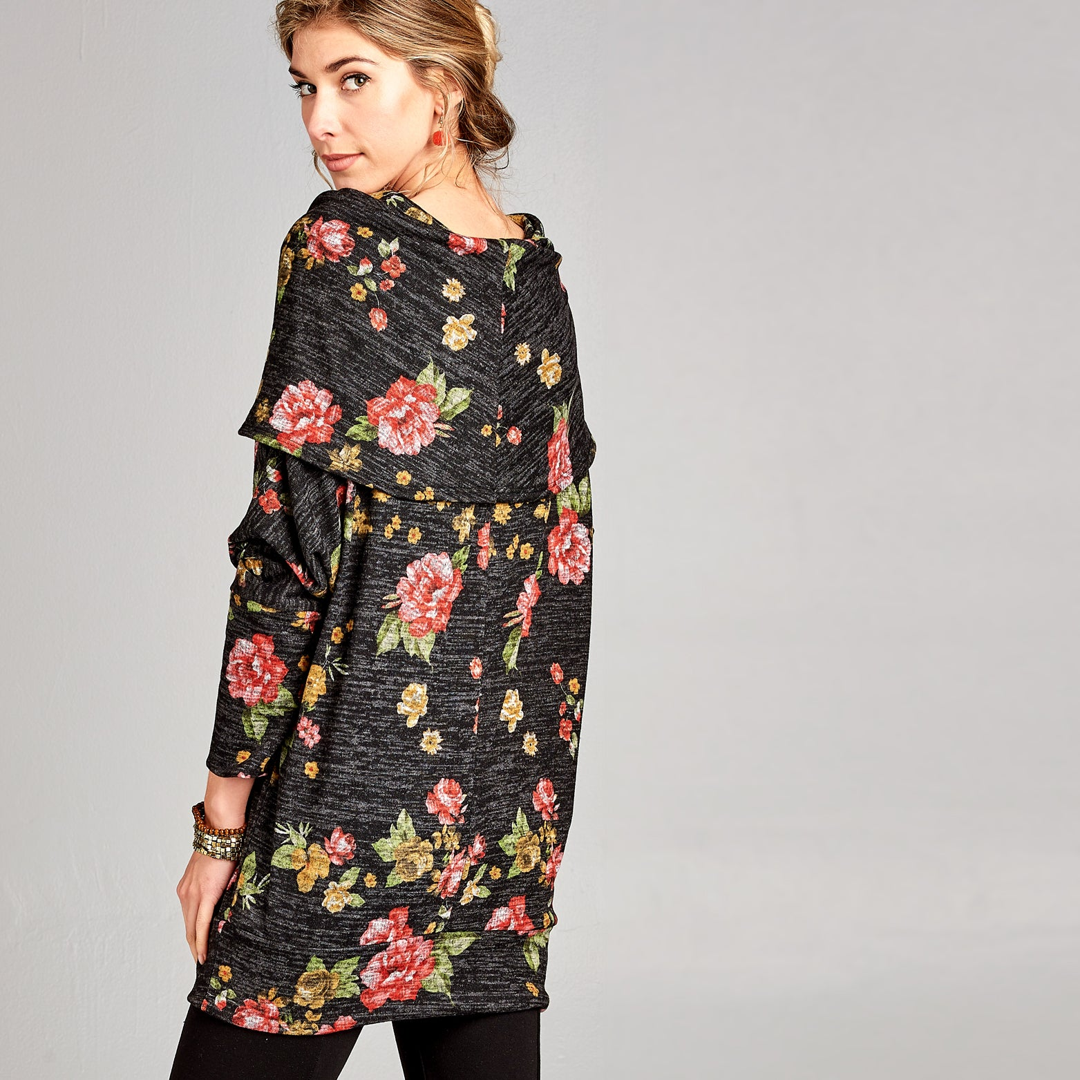Oversized Cowl Neck Floral Sweater - Love, Kuza