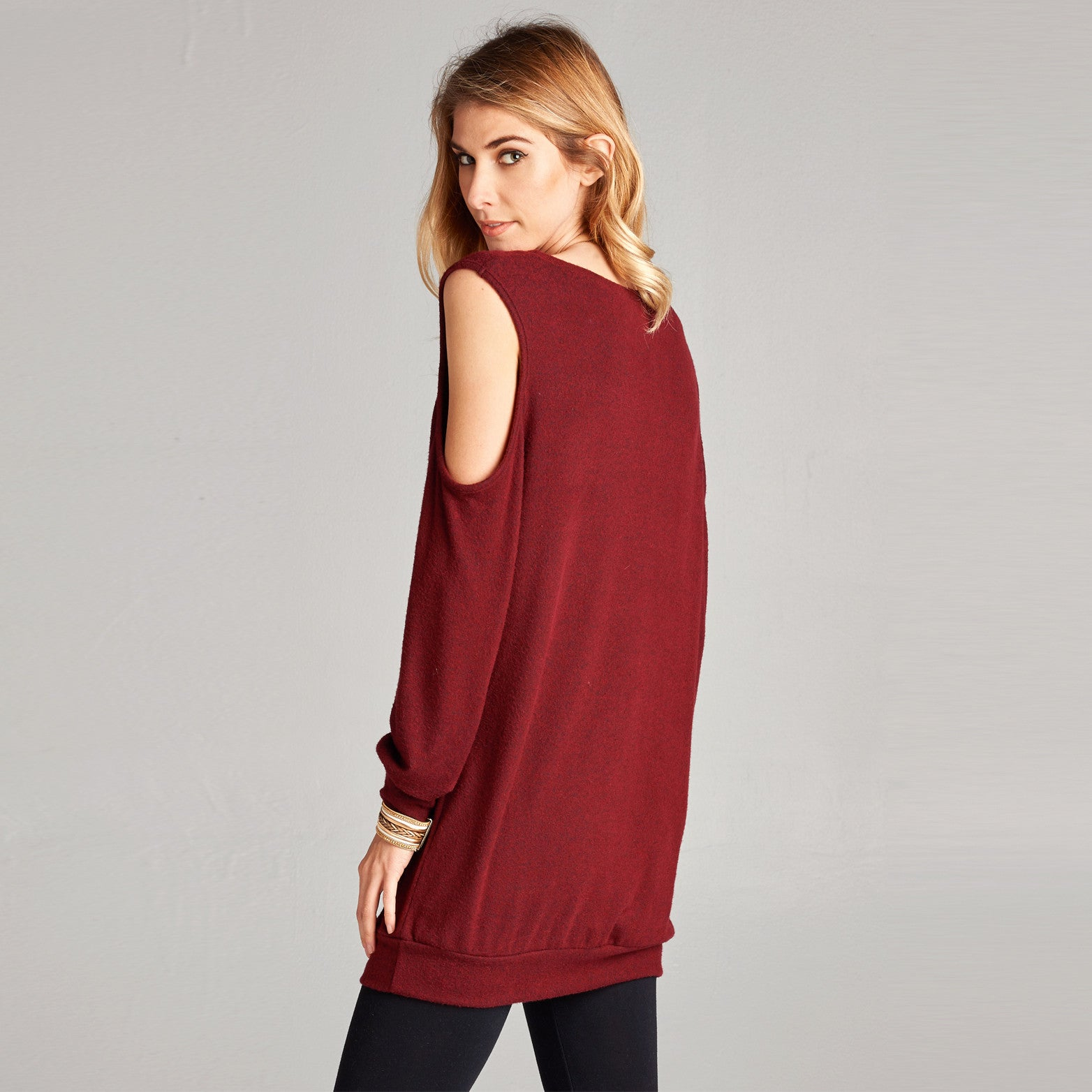 Hacci Cold Shoulder Tunic Top