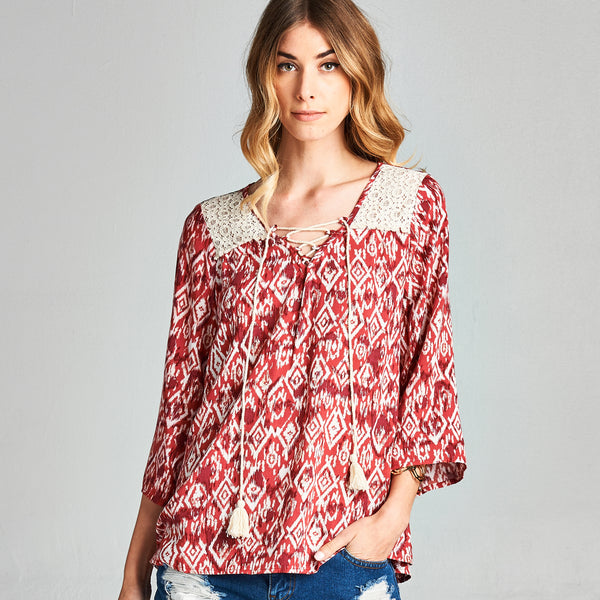 Geo Tribal Tassels Top