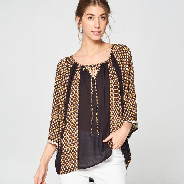 Honey Block Boho Top