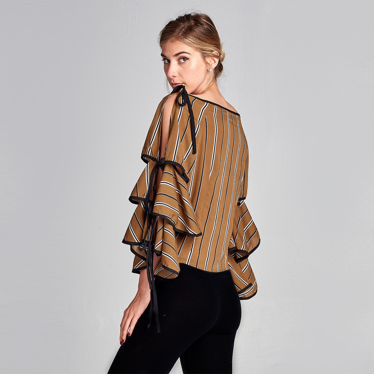 Striped Frill Top - Love, Kuza