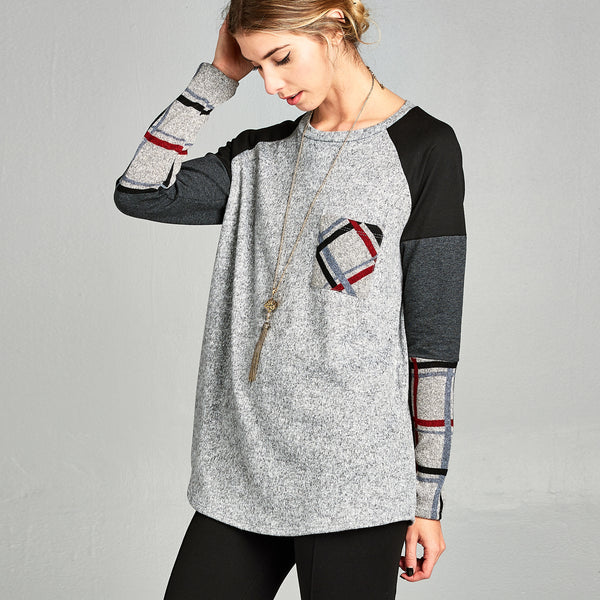 Plaid & Solid Raglan Top