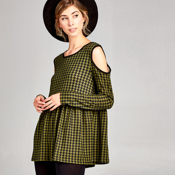 Houndstooth Smock Top