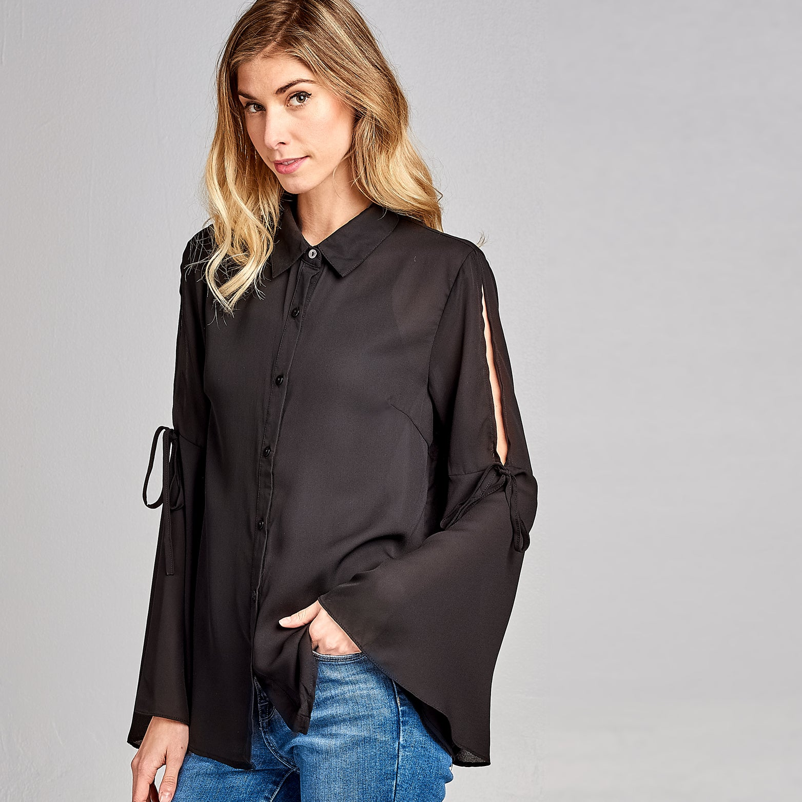 Silk Bell Sleeve Blouse