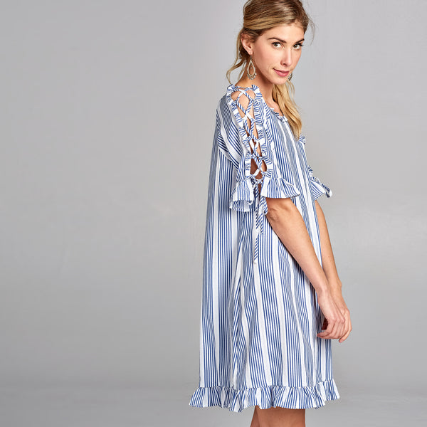 Ruffle Lace Up Shift Dress