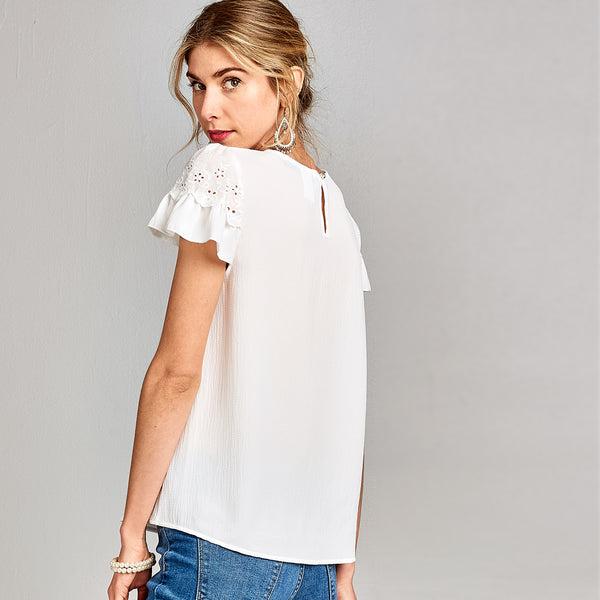 Round Neck Ruffle Top