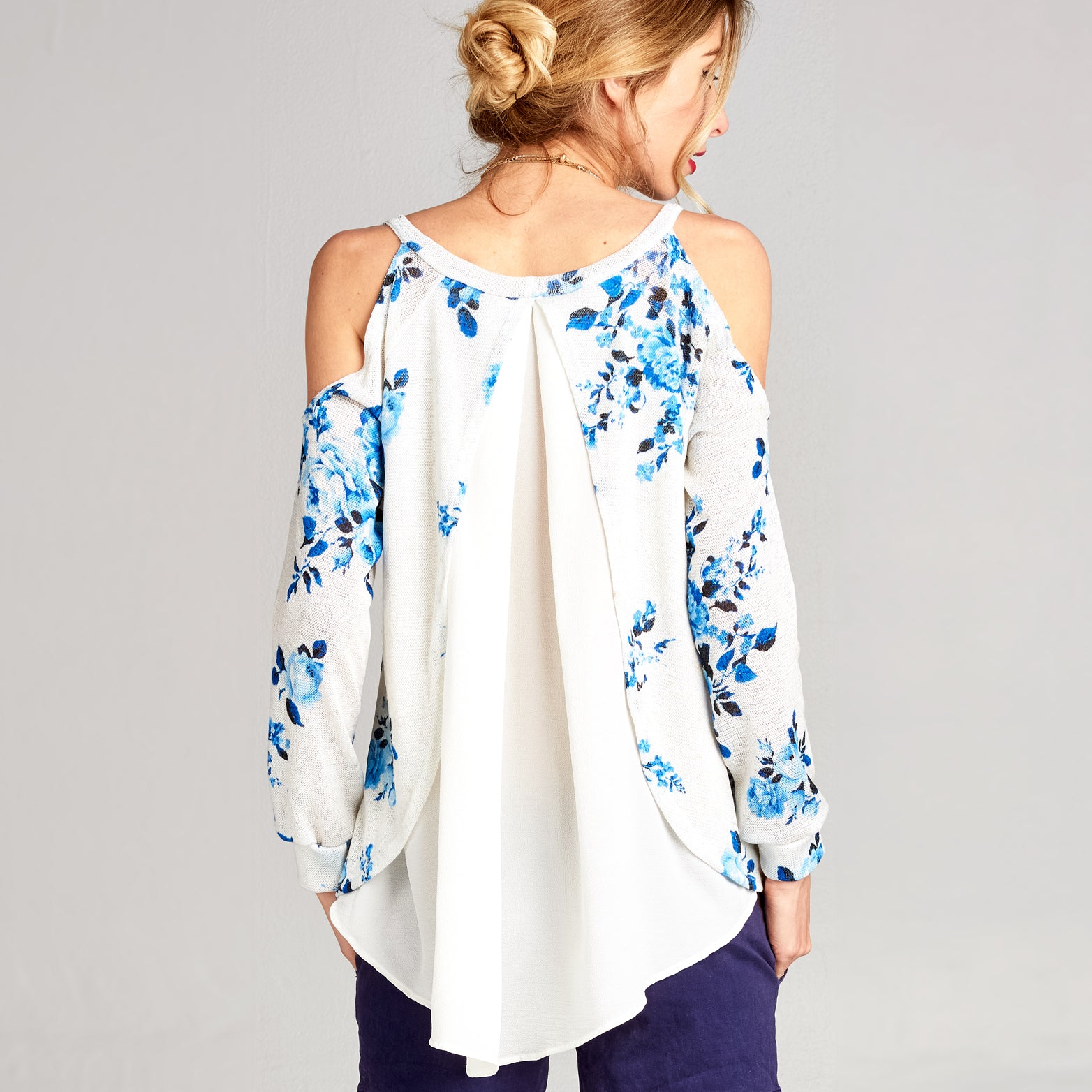 Floral Knit Cold Shoulder Top