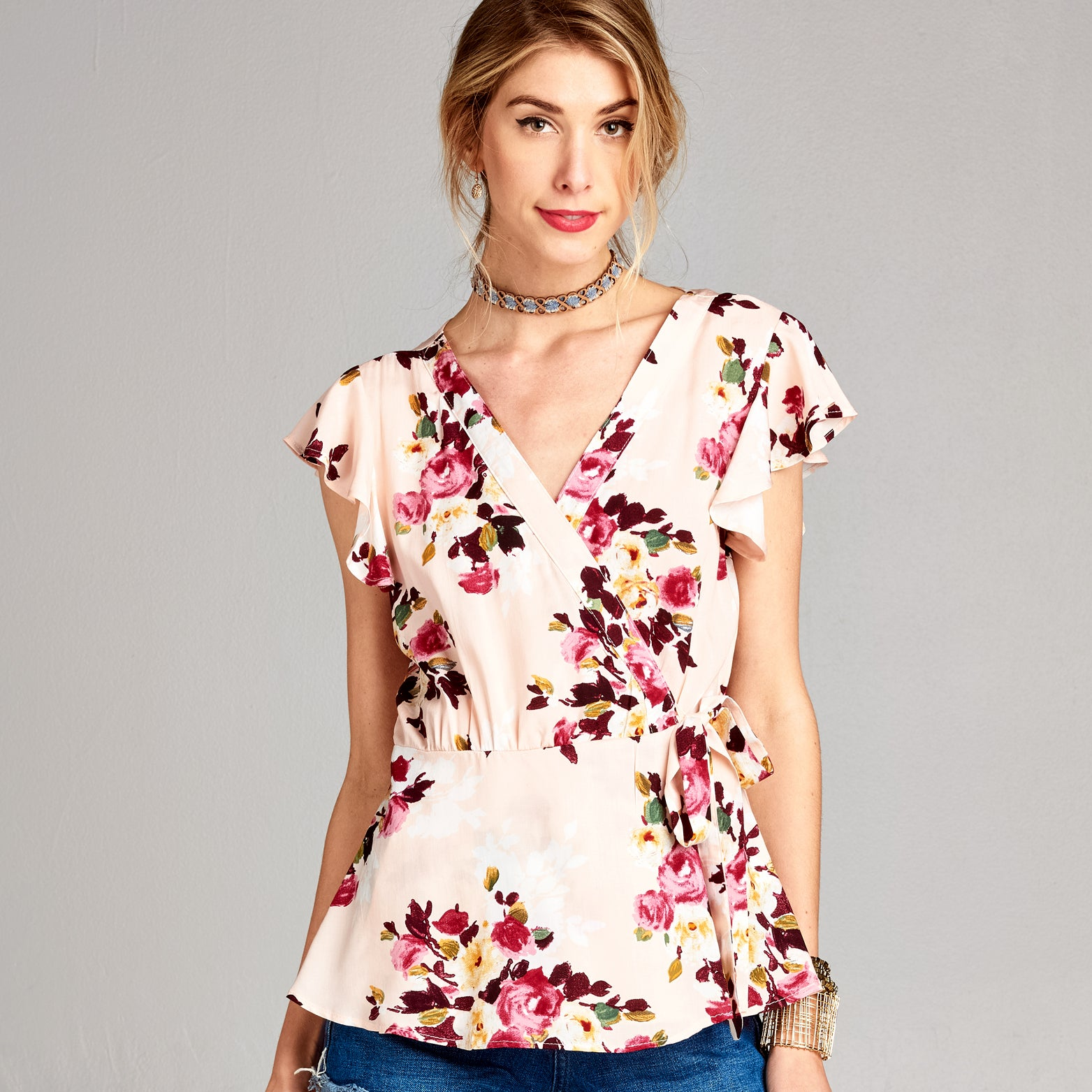 Floral Flutter Sleeve Wrap Top