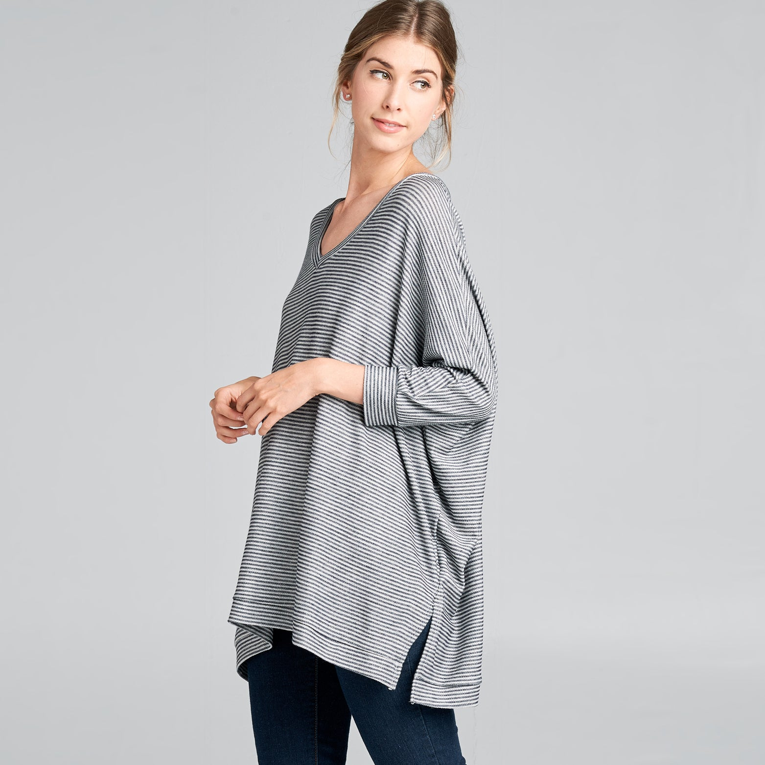 Dolman V-Neck Terry Top