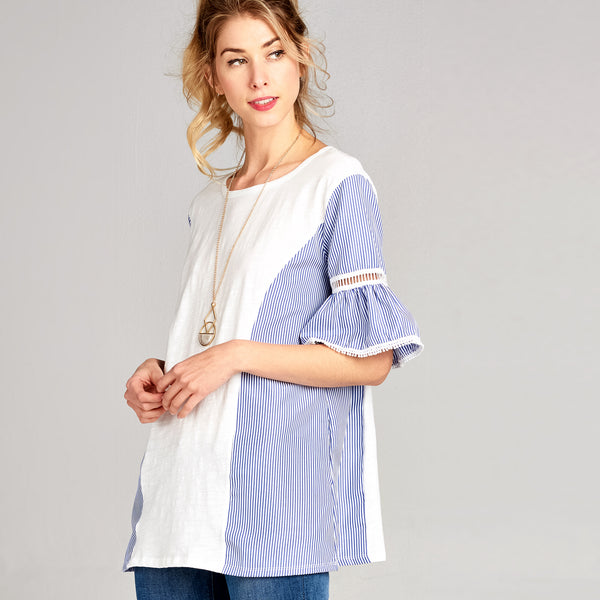 Contrast Ruffle Boxy Top