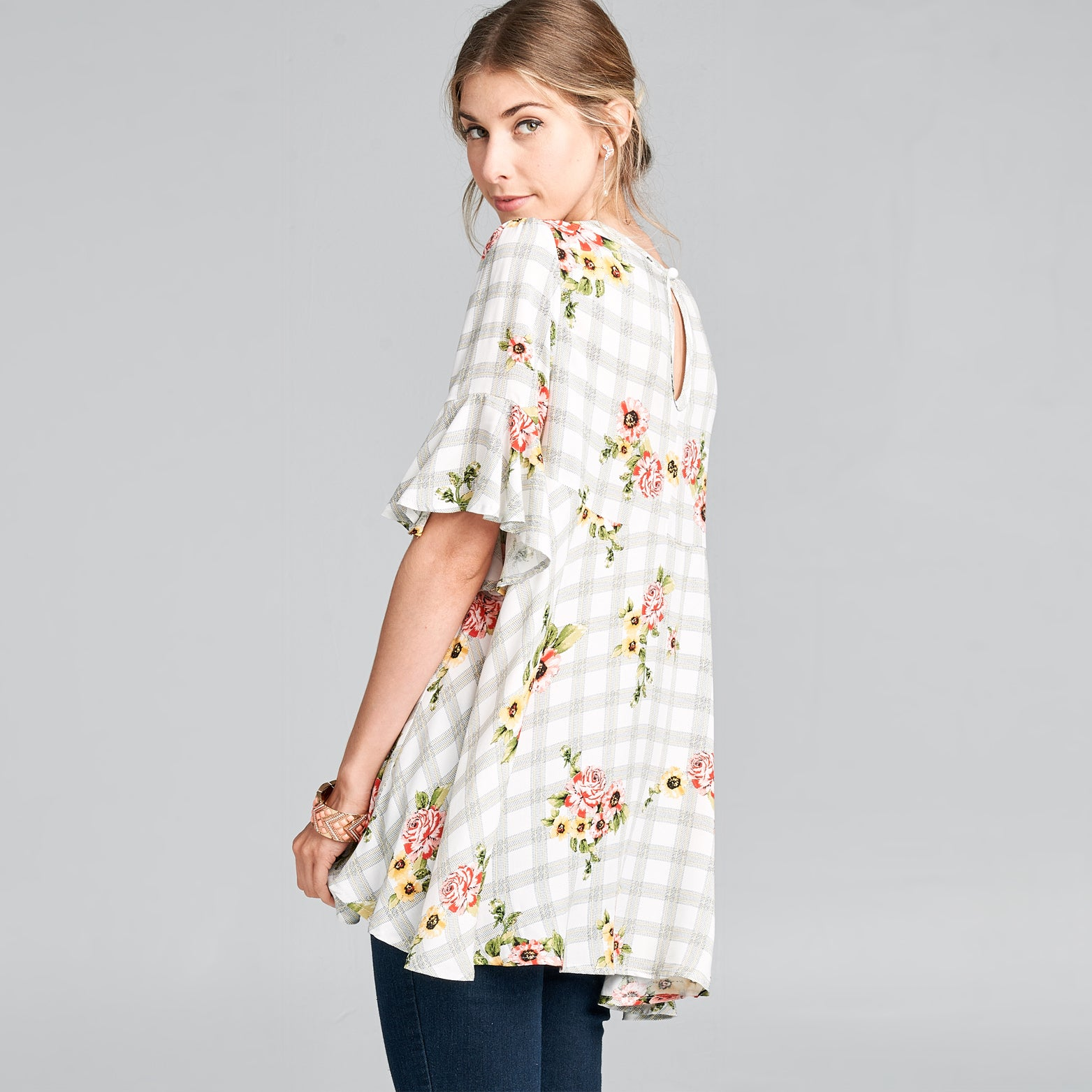 Floral Plaid Swing Top