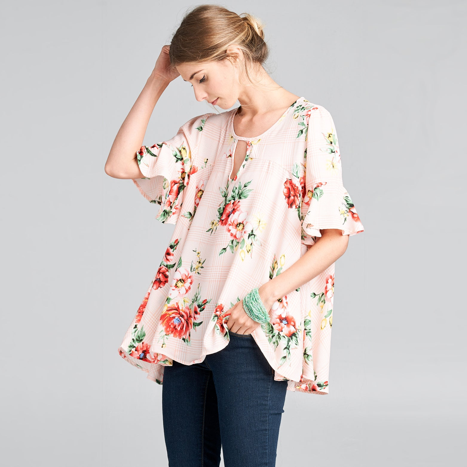 Floral Plaid Swing Top - Love, Kuza