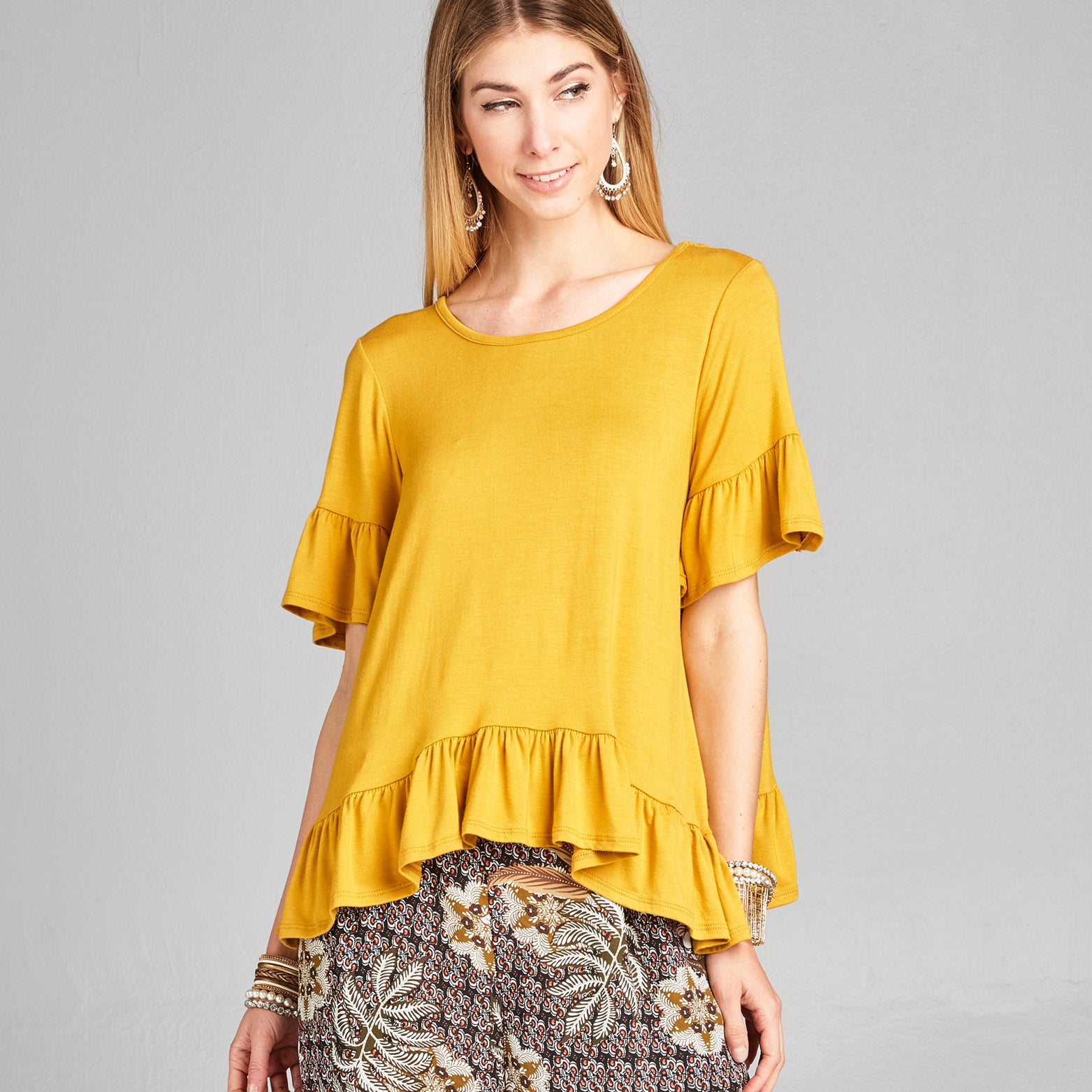 Relaxed Fit Ruffle Top
