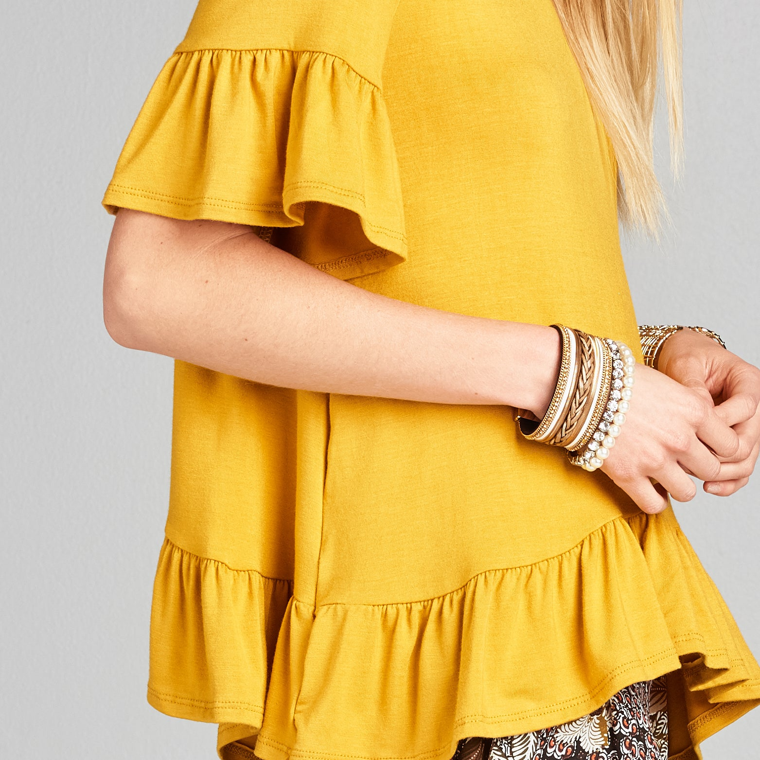 Relaxed Fit Ruffle Top +