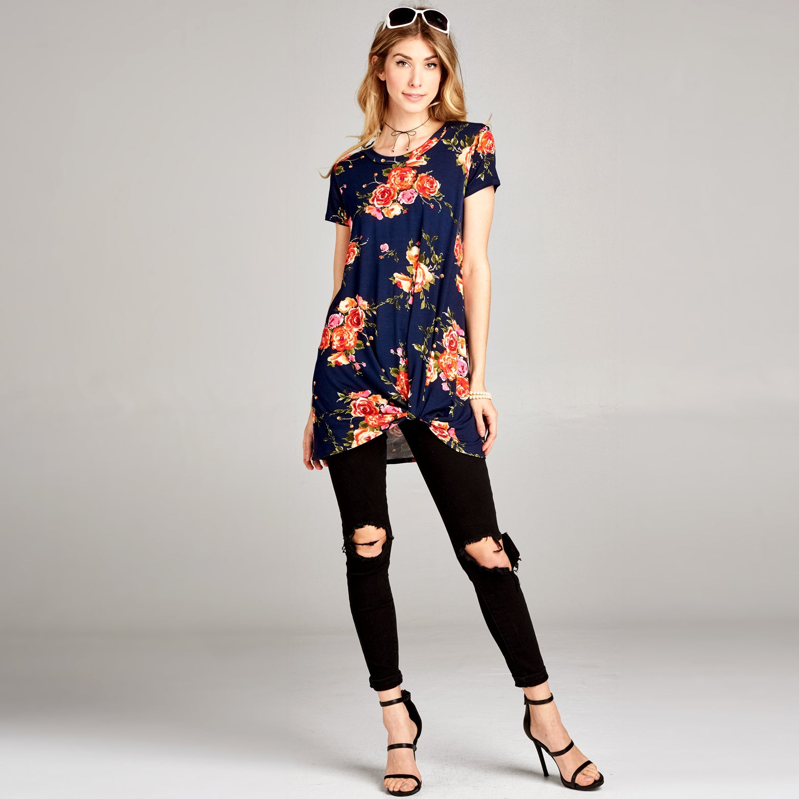 Floral Twist-Front Tunic