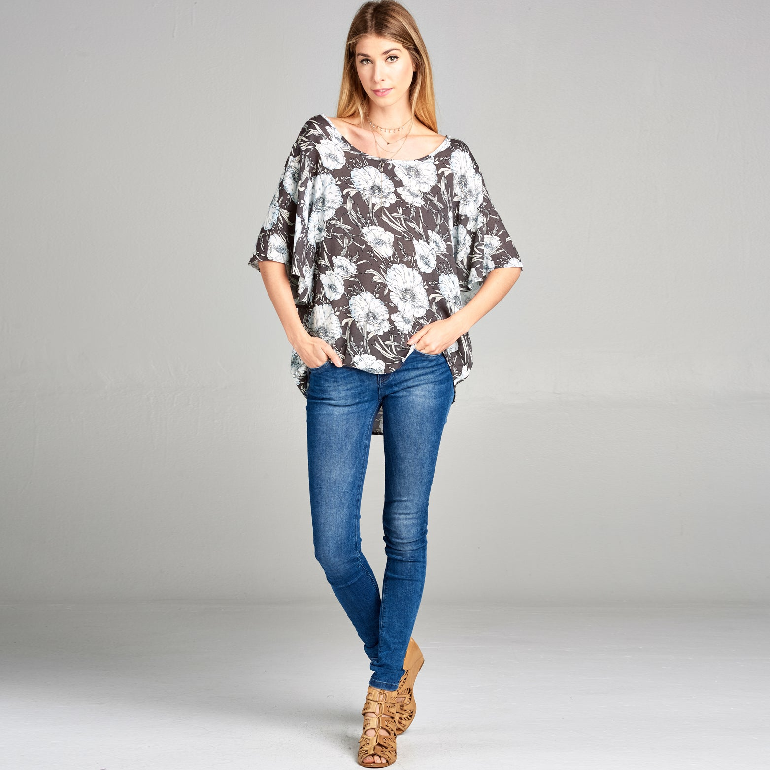 Butterfly Sleeve Floral Top