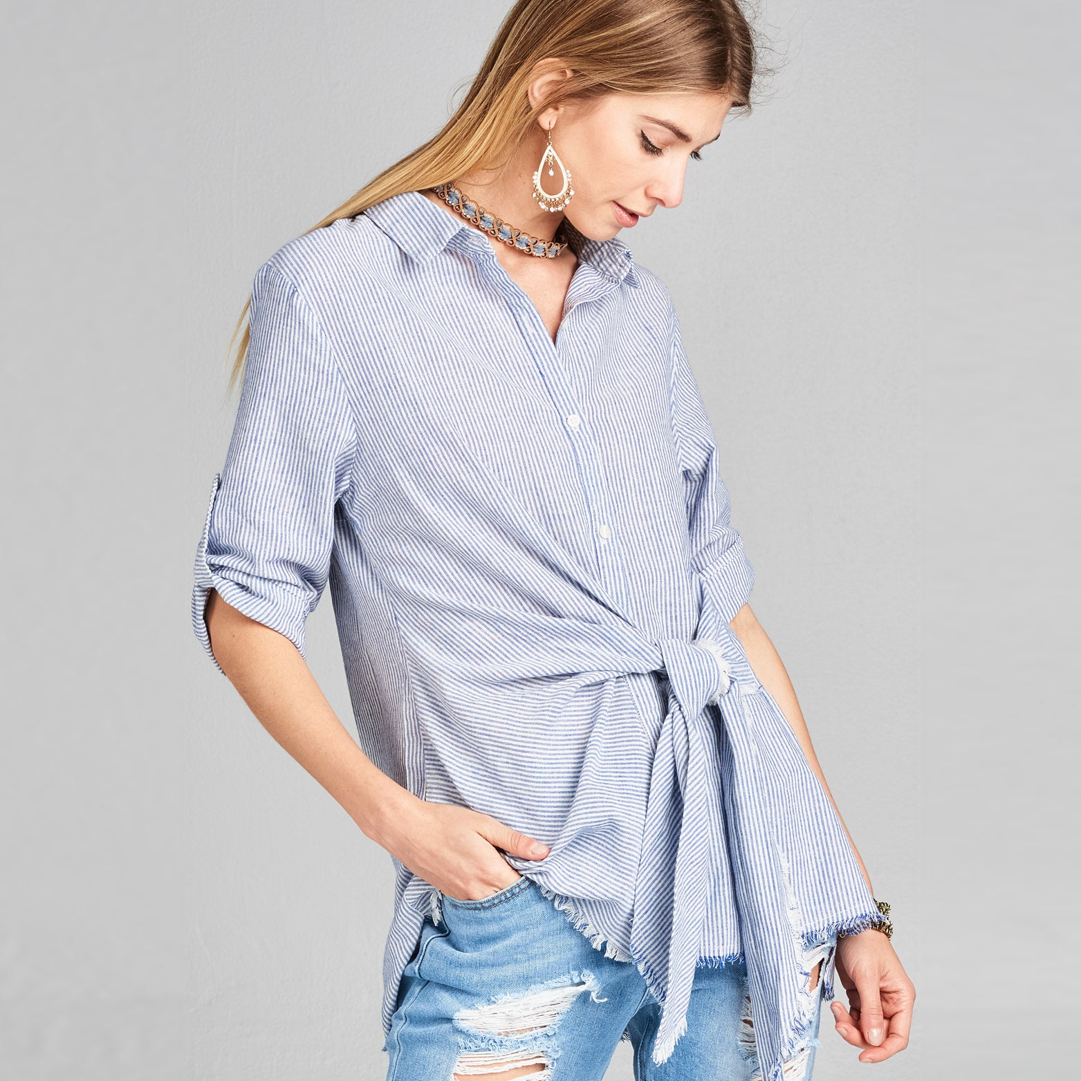 Front Tie Embroidery Button Down Shirt