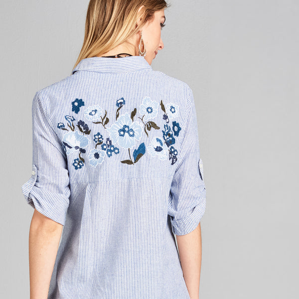 Front Knot Embroidery Top