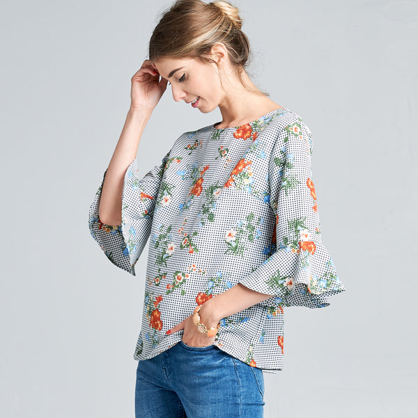 Retro Cut Floral Top