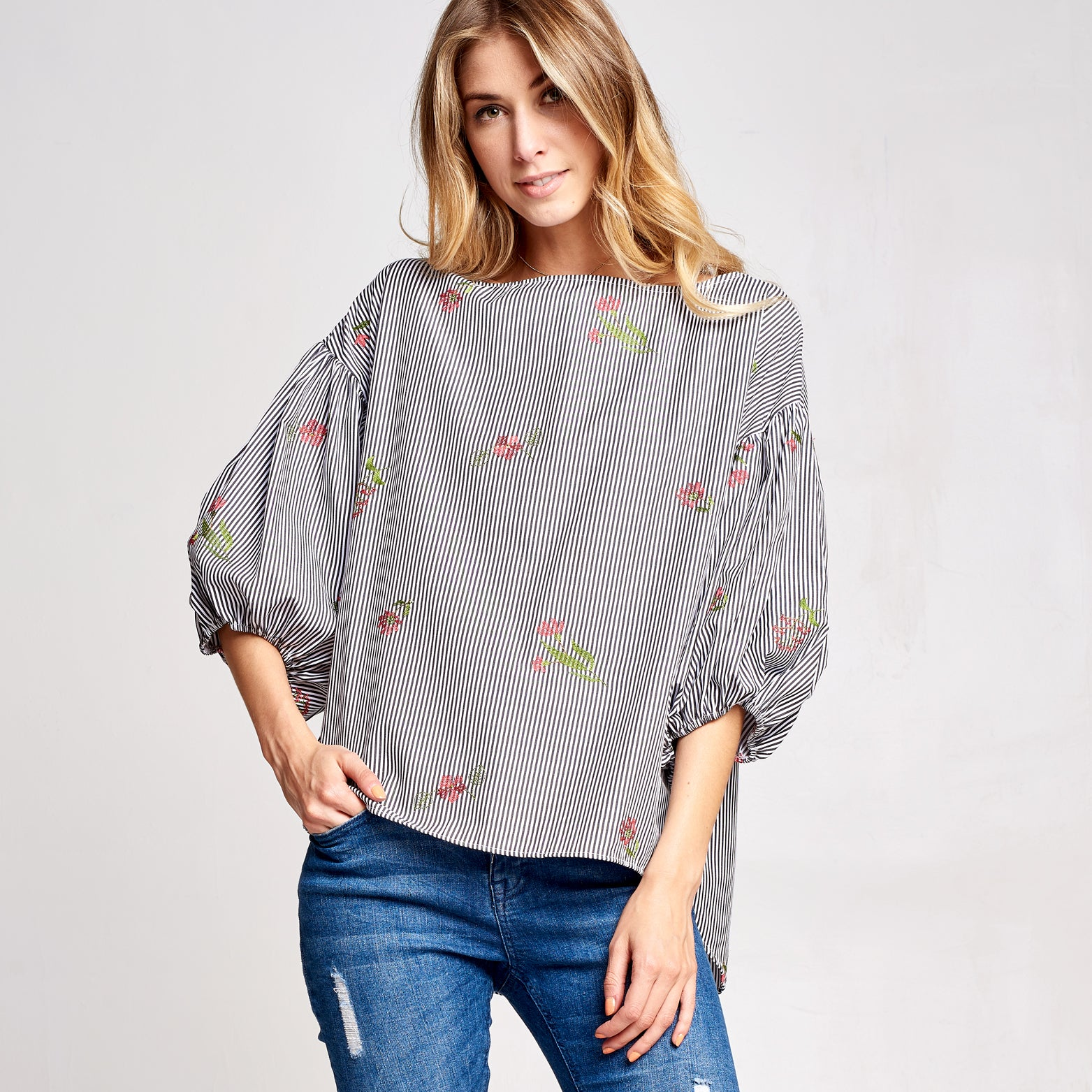 Floral Embroidered Stripe Top