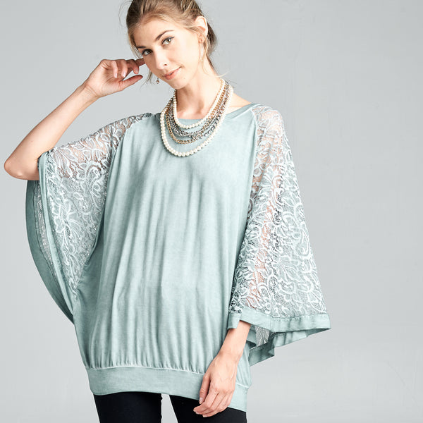 Butterfly Lace Sleeve Top