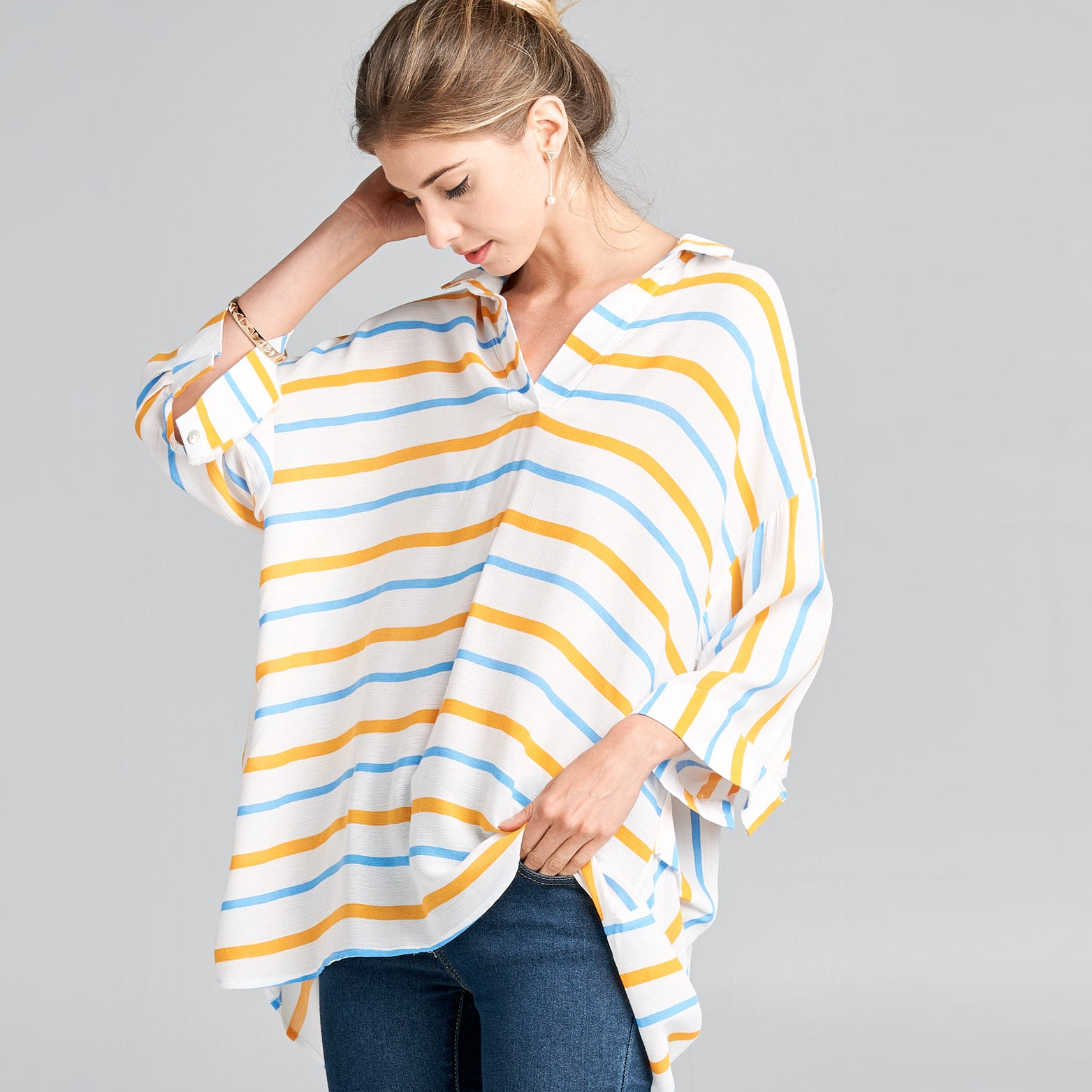 Contrast Striped Collared Top - Love, Kuza