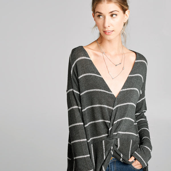 Striped Twist Knit Top