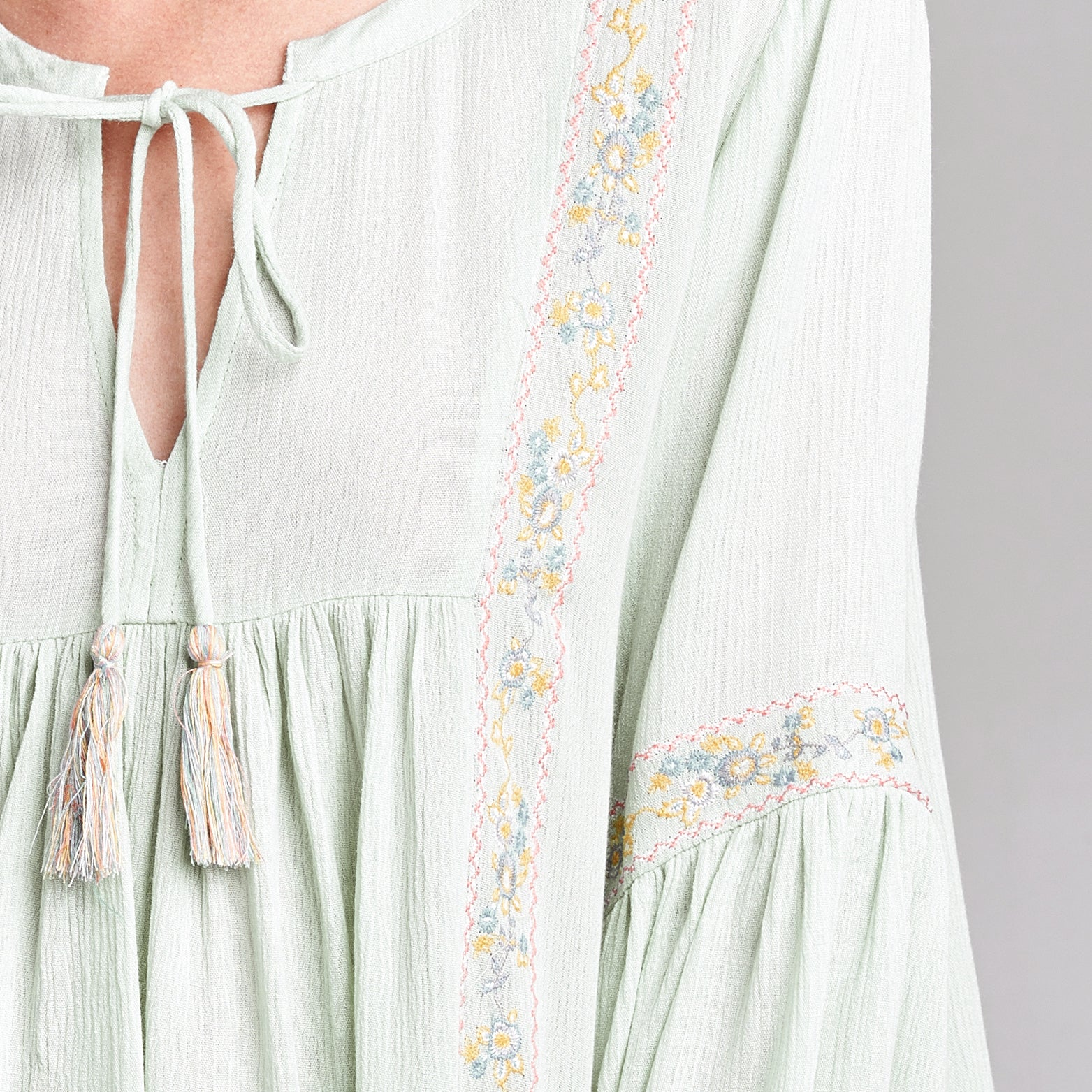 Floral Embroidered Peasant Top