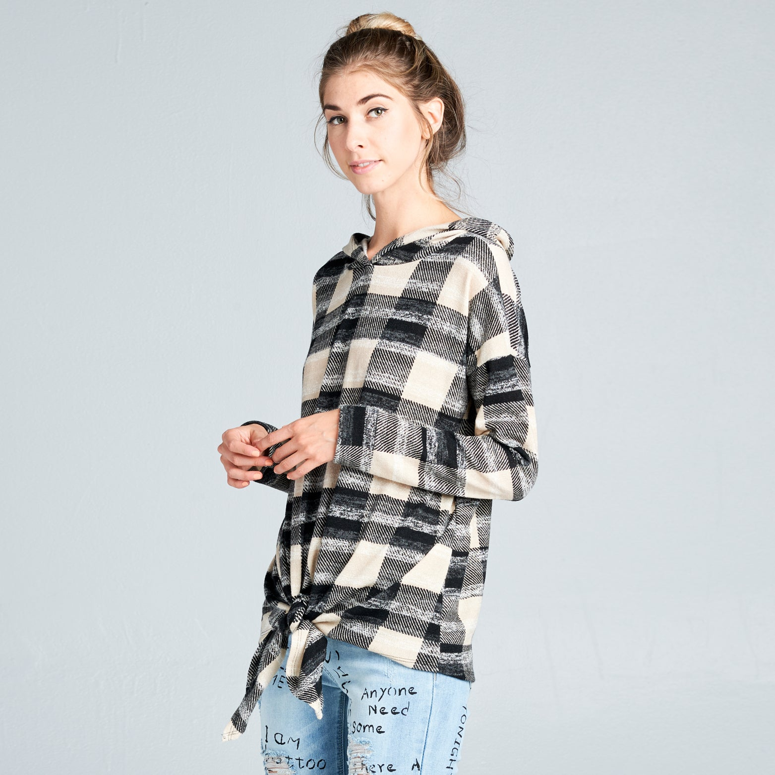 Plaid-N-Knot Knit Sweater