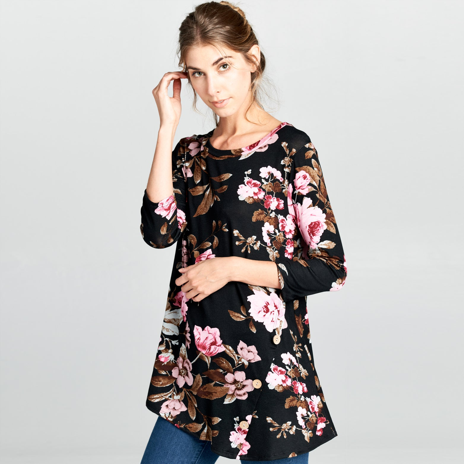 Natural Wood Button Floral Top