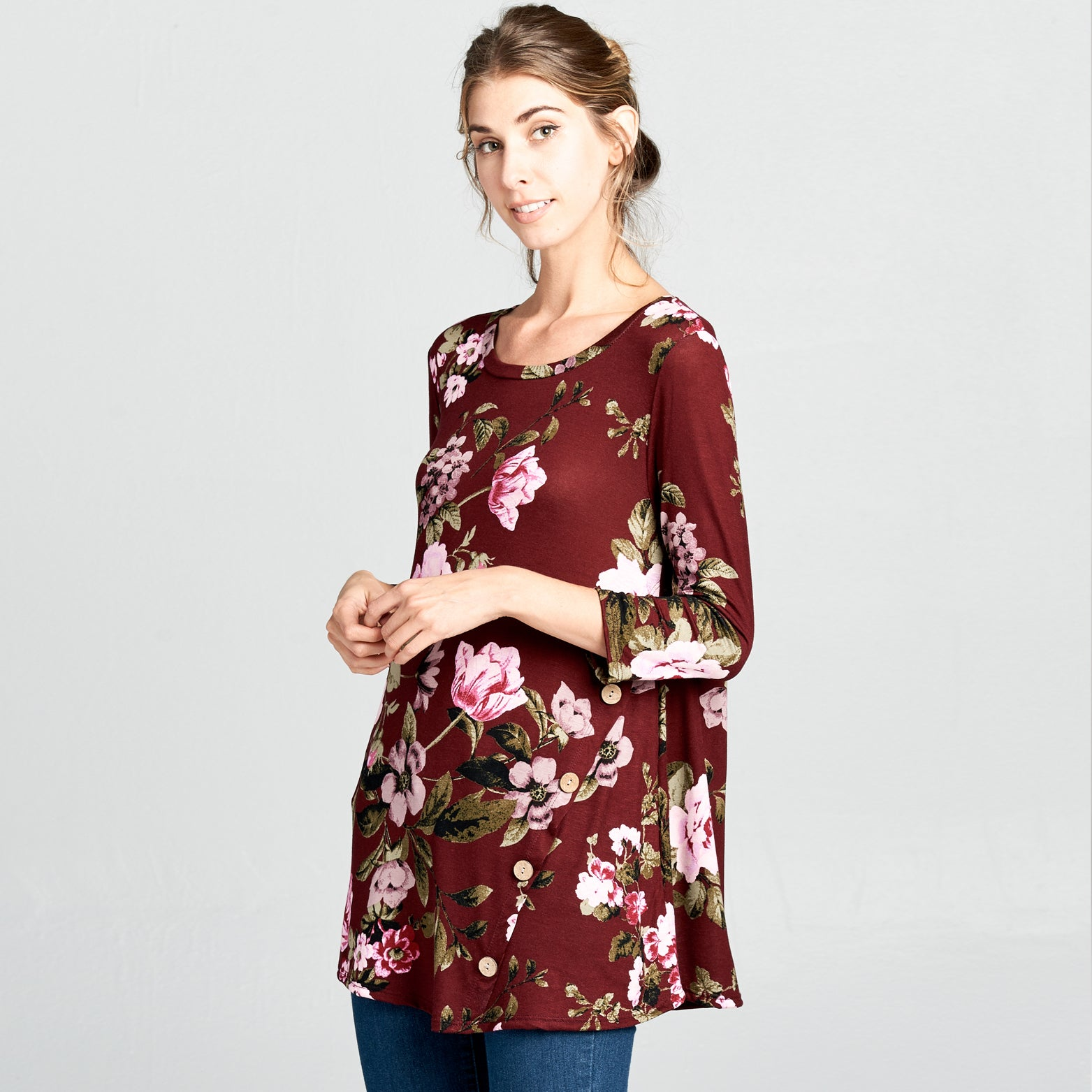 Natural Wood Button Floral Top - Love, Kuza