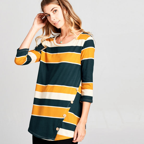 Asymmetrical Button Stripe Top