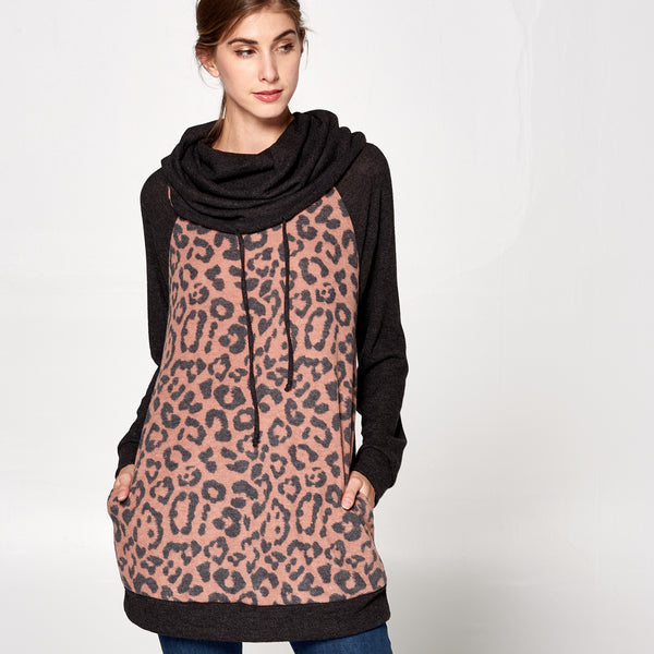 Leopard Funnel Neck Sweater Tunic