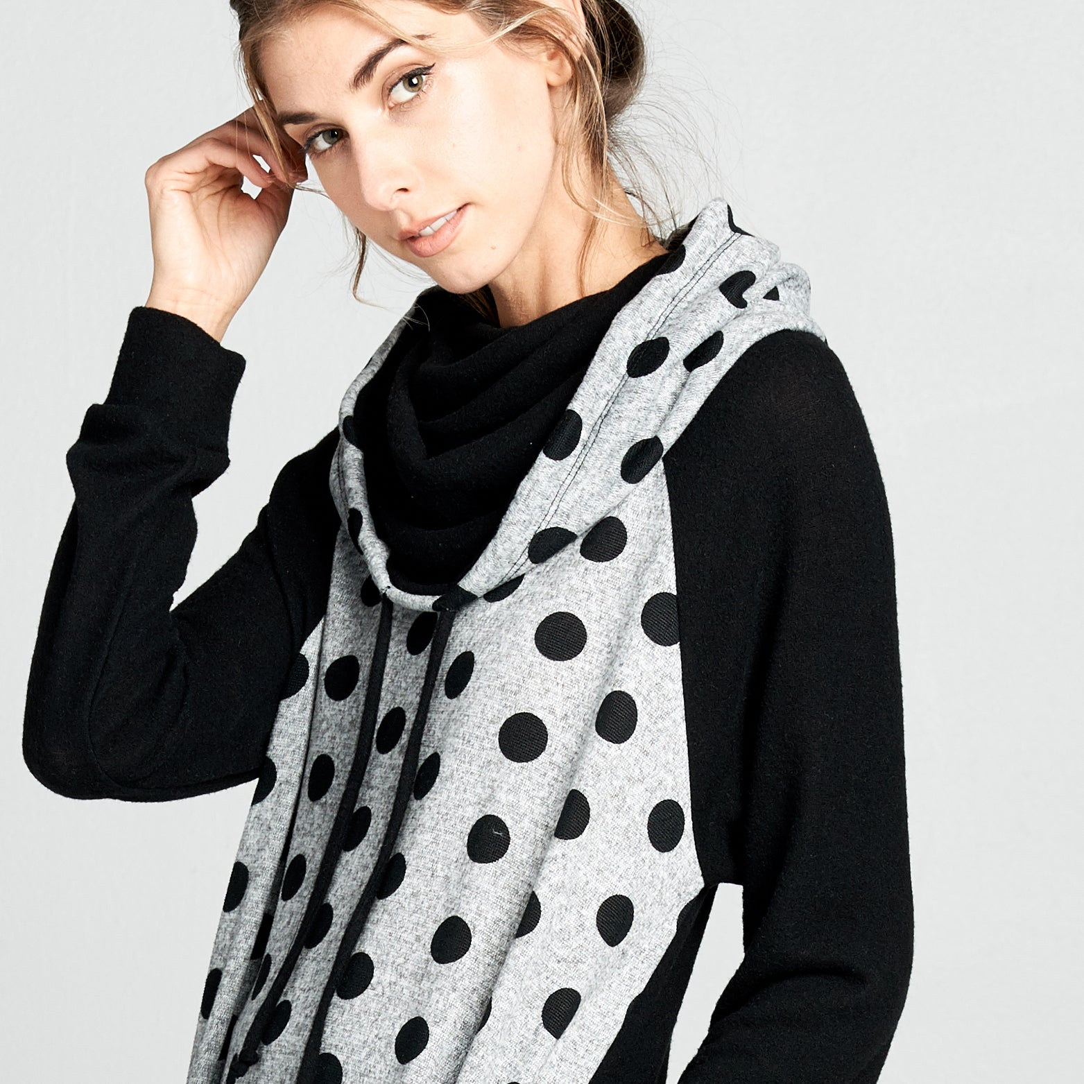 Polka Dot Funnel Neck Sweater Tunic
