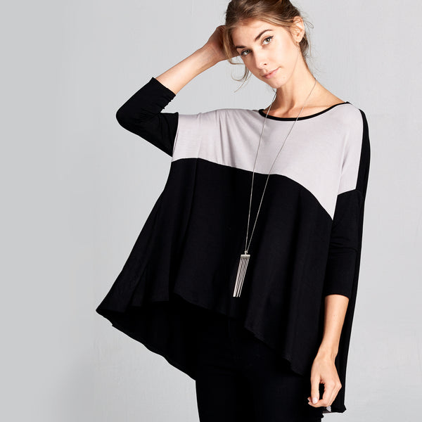 Dolman Color Block Swing Top