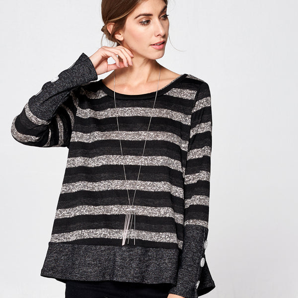 Contrast Buttons Striped Sweater
