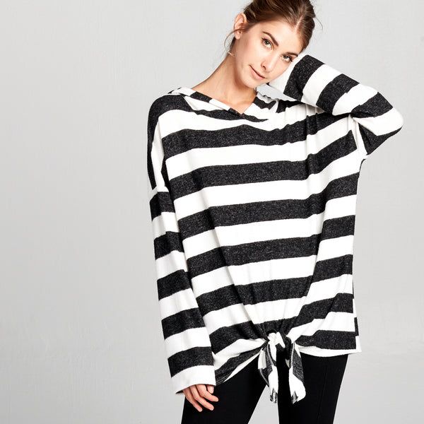 Ultra Soft Hooded Striped Sweater