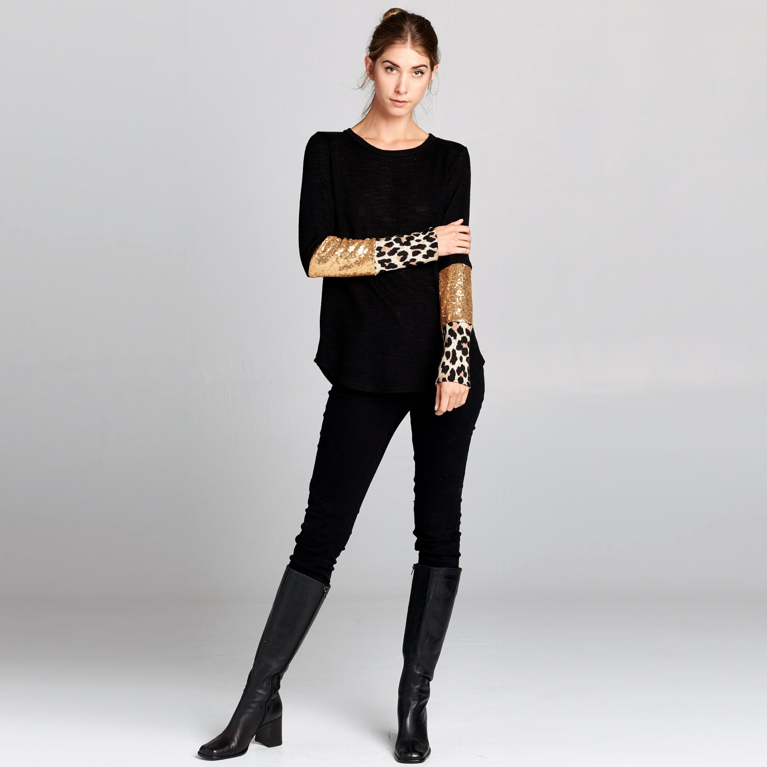 Leopard Gold Sequin Top
