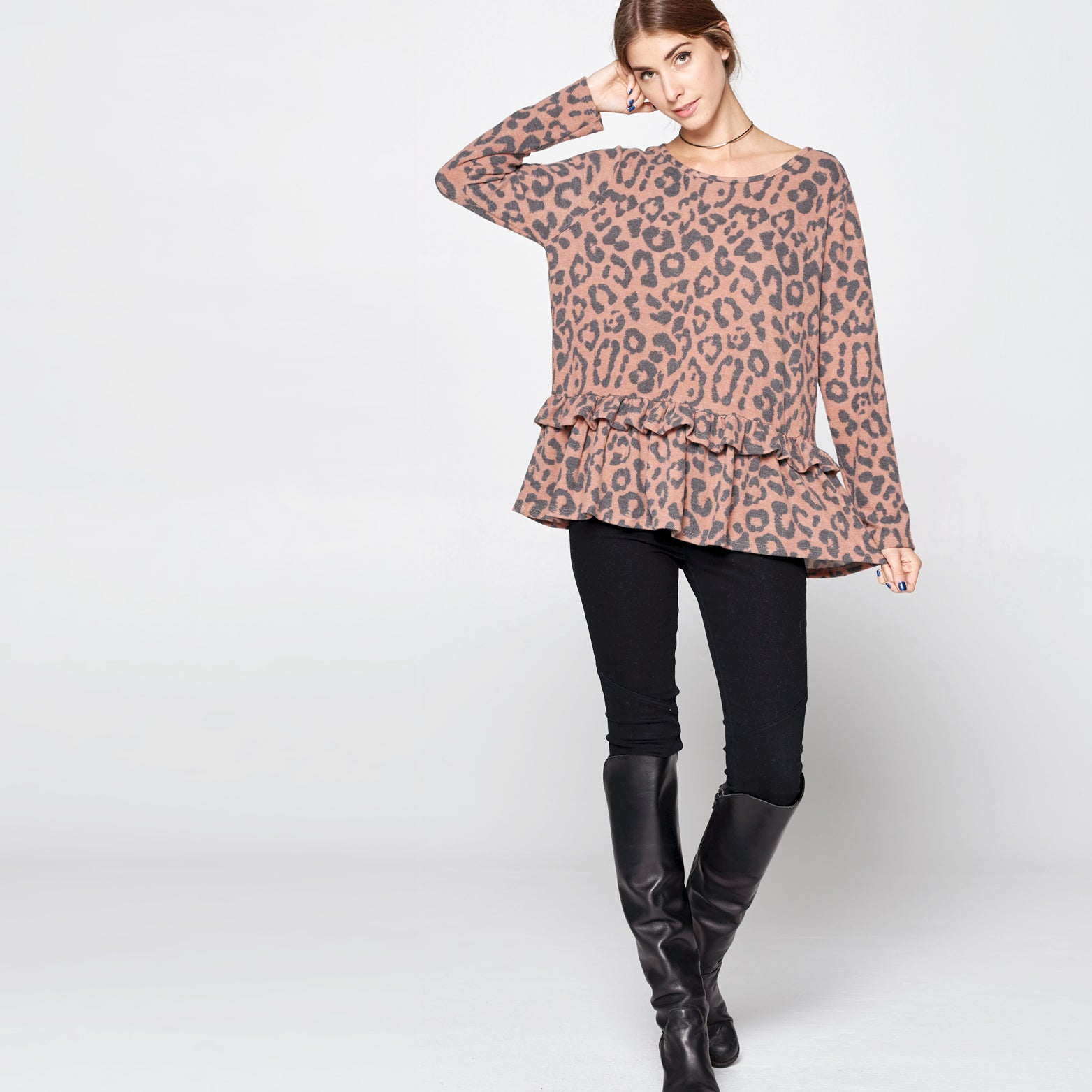 Little Ruffle Hacci Leopard Top