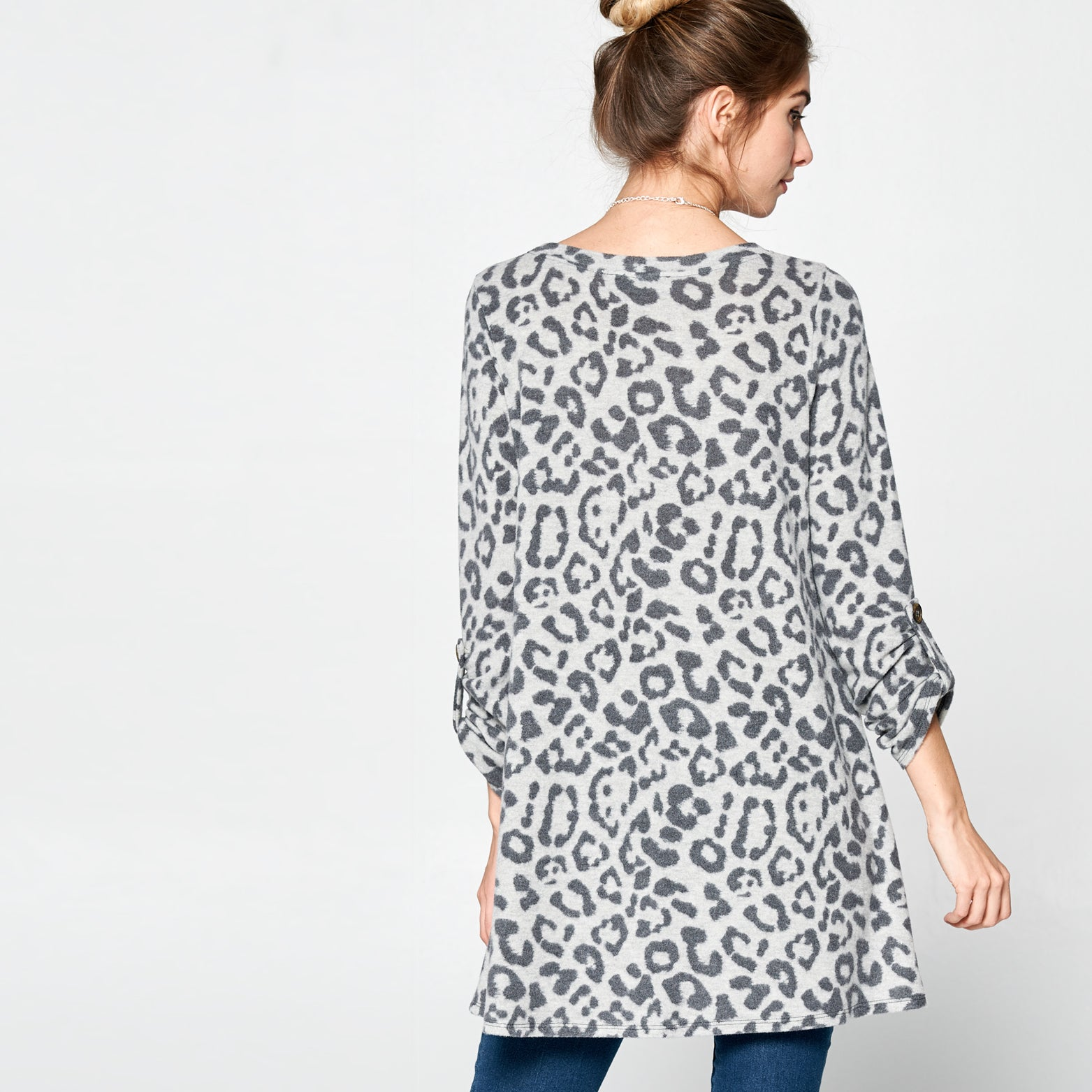 Three-Quarter Sleeve Leopard Tunic