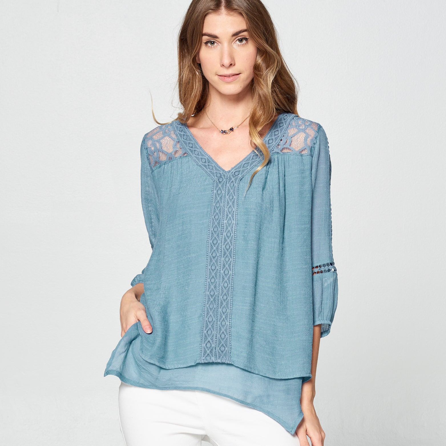 Contrast Lace Layered Top