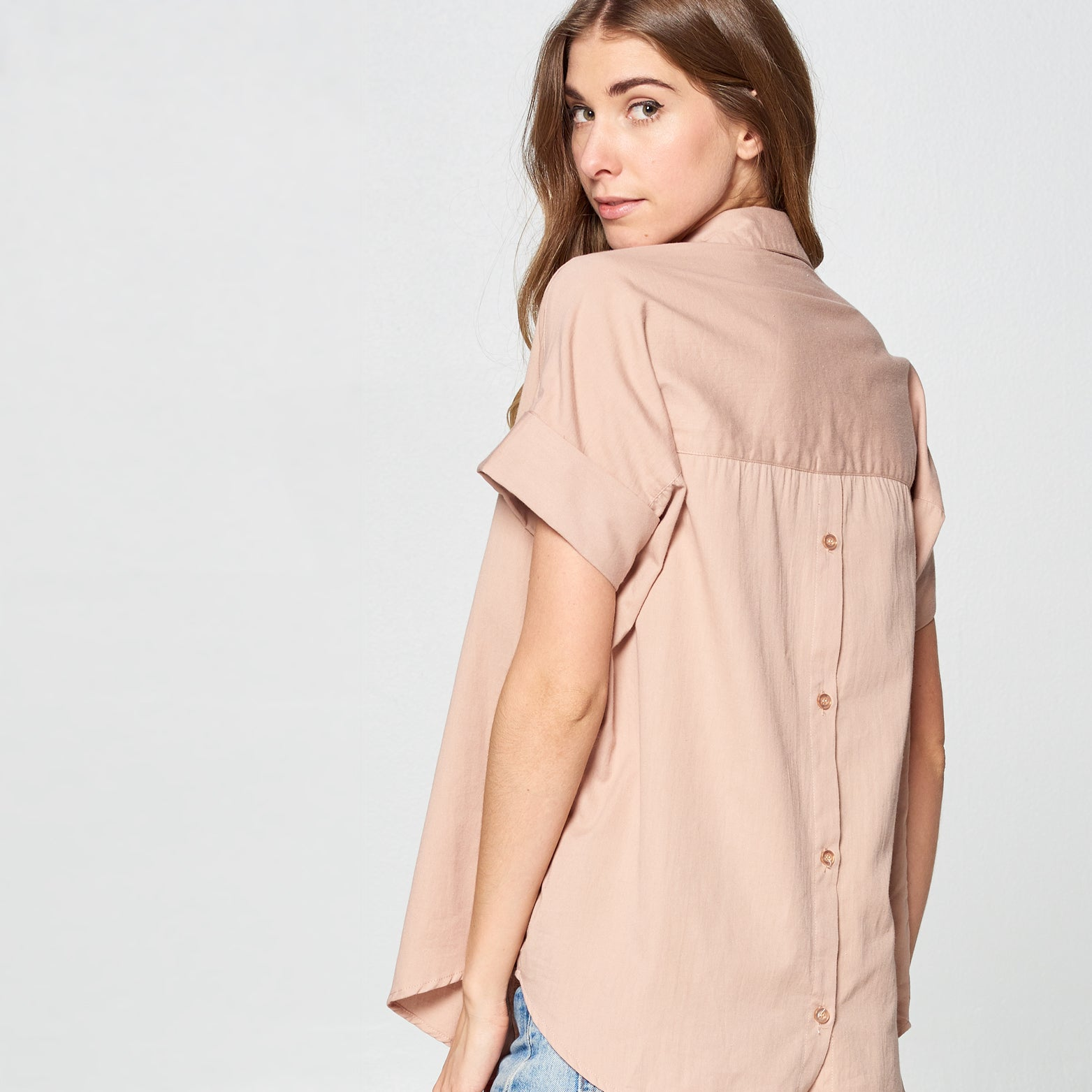 Mocha Button-Back Cotton Shirt