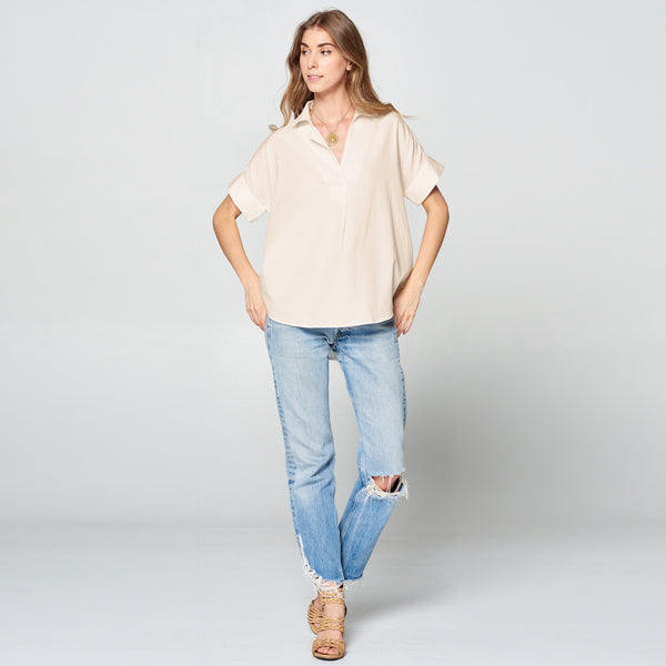 Taupe Button-Back Cotton Shirt