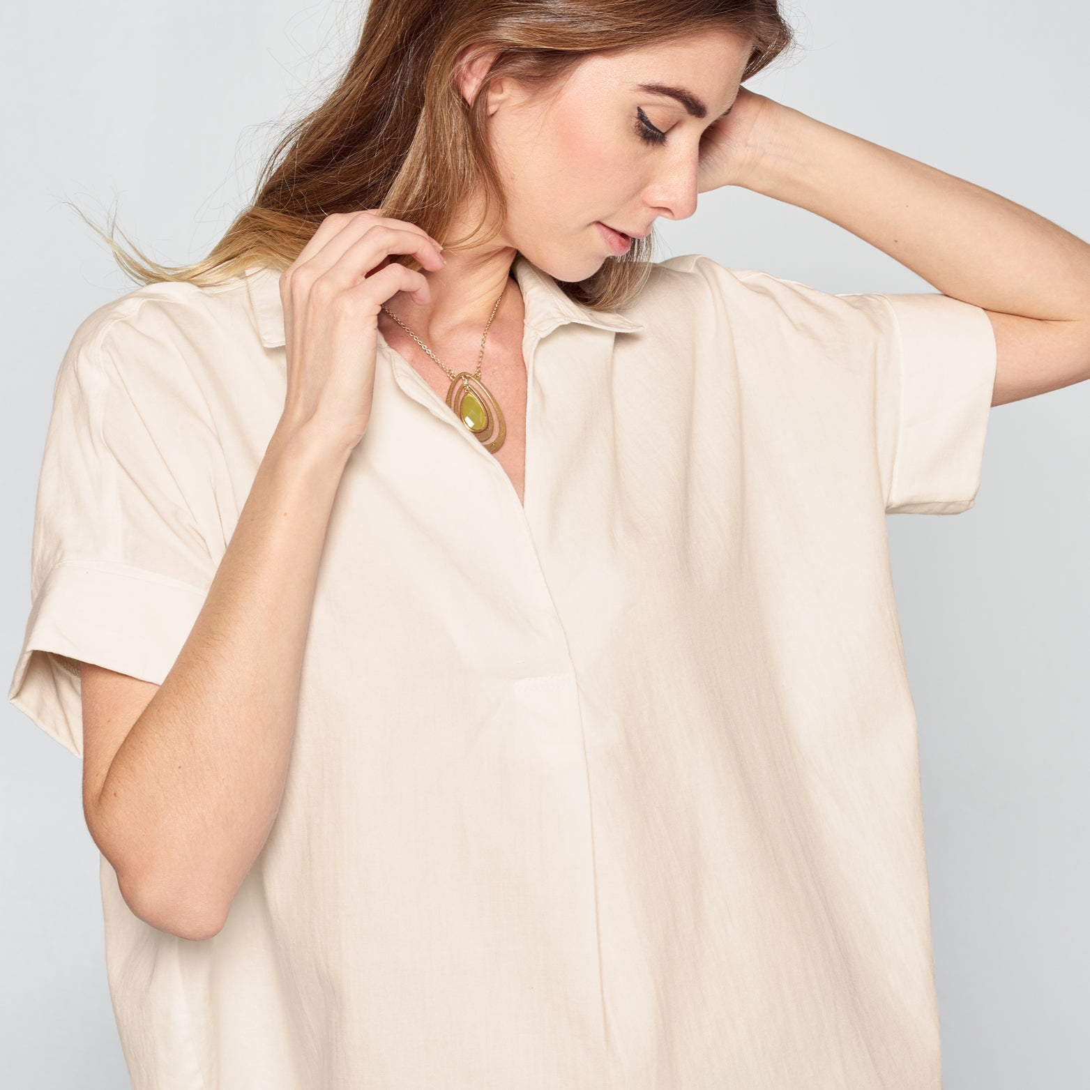 Taupe Button-Back Cotton Shirt - Love, Kuza
