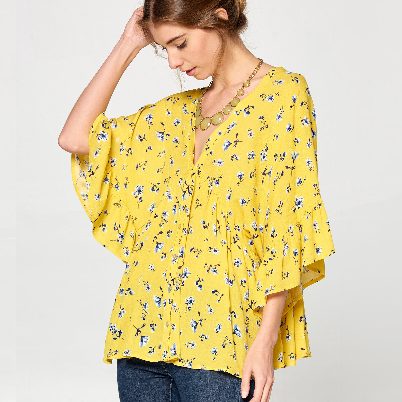 Calico Floral Woven Top - Love, Kuza